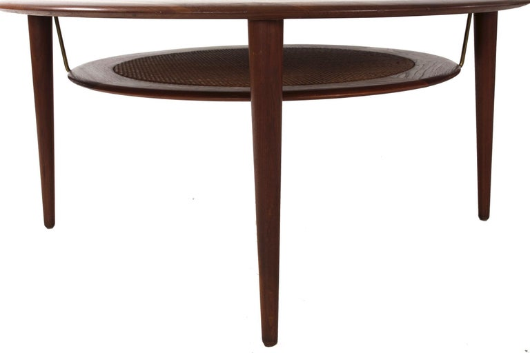 Brass Model FD 515 Teak and Wicker Coffee Table by Peter Hvidt & Orla Mølgaard Nielsen For Sale