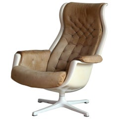 Model Galaxy Space Age Swivel Lounge Chair in Leather by Alf Svensson for DUX