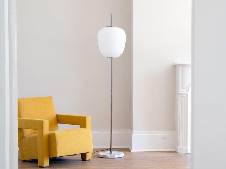 Mid-Century Modern Model J14 Glass & Brass Standing / Floor Lamp by Joseph-André Motte for Disderot For Sale