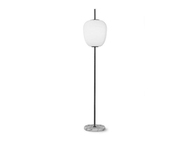 French Model J14 Glass & Brass Standing / Floor Lamp by Joseph-André Motte for Disderot For Sale