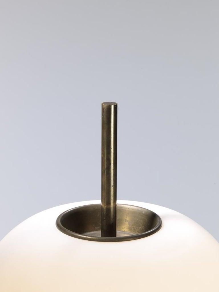 Polished Model J14 Glass & Brass Standing / Floor Lamp by Joseph-André Motte for Disderot For Sale