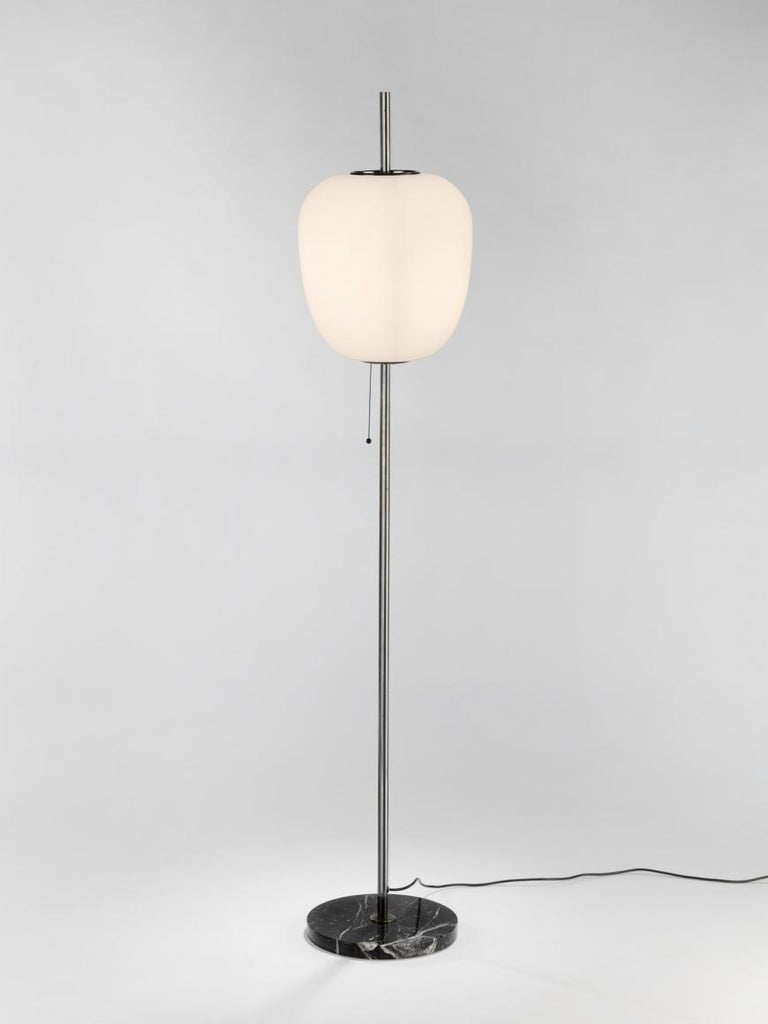 Model J14 Glass & Brass Standing / Floor Lamp by Joseph-André Motte for Disderot In Excellent Condition For Sale In London, GB