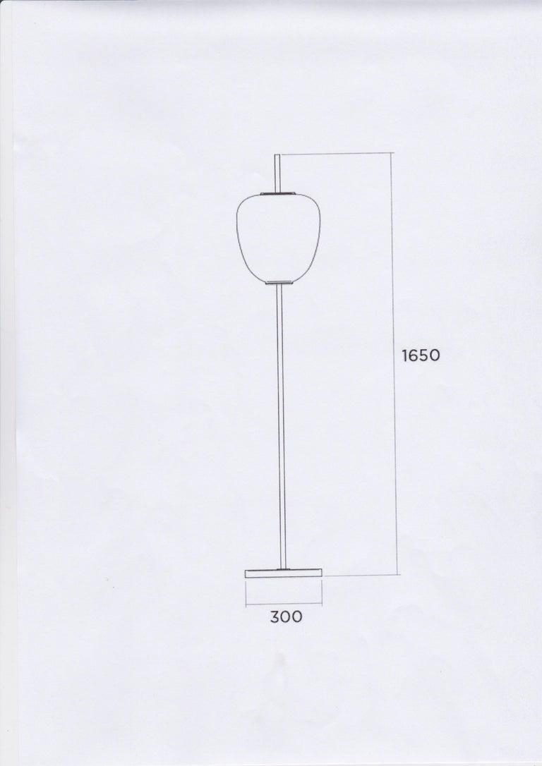 Mid-20th Century Model J14 Glass & Brass Standing / Floor Lamp by Joseph-André Motte for Disderot For Sale