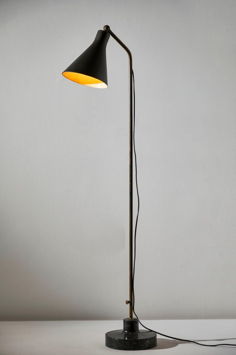 Rare and early Model Lte3 Alzabile Floor Lamp by Ignazio Gardella for Azucena. Designed and manufactured in Italy, circa 1950s. Enameled metal, brass, marble base. Original cord. Height adjust from 72 inches to 48 inches. Takes one E27 100w maximum