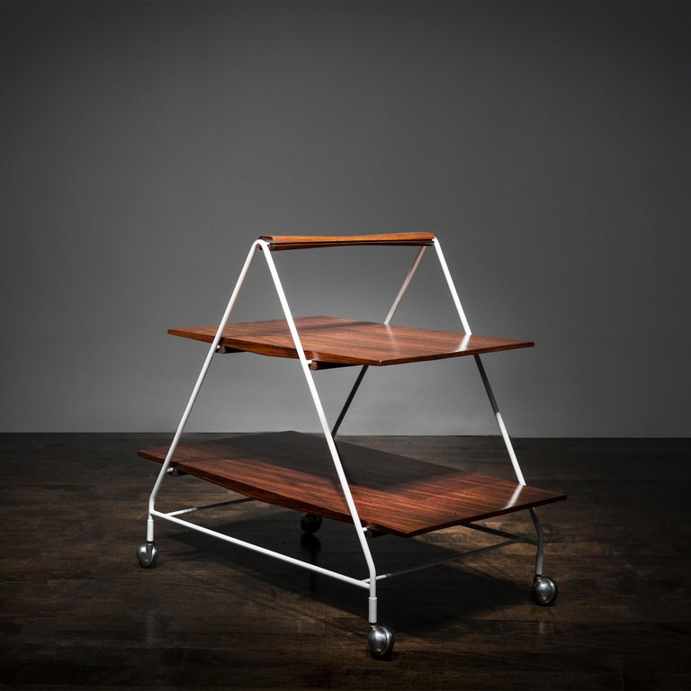Model M10 Bellagio tea/bar cart by Ico Parisi, Italy 1958, in painted metal and rosewood, manufactured by MIM Roma.