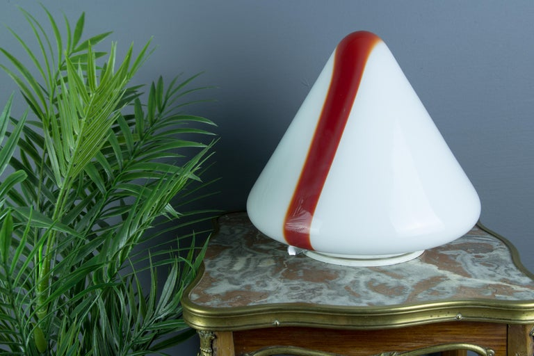 Metal Model MICO Murano White & Red Glass Ceiling Lamp by Renato Toso for Leucos, 1972 For Sale