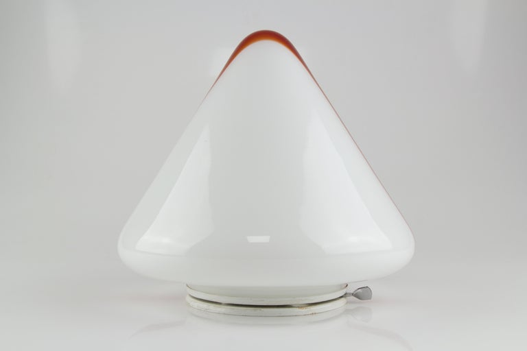 Model MICO Murano White & Red Glass Ceiling Lamp by Renato Toso for Leucos, 1972 For Sale 4