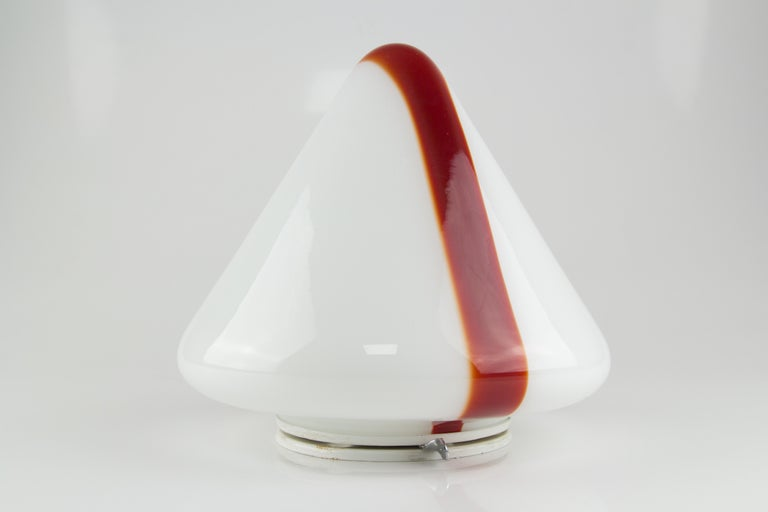 Model MICO Murano White & Red Glass Ceiling Lamp by Renato Toso for Leucos, 1972 For Sale 5