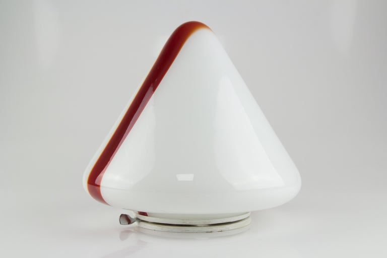 Model MICO Murano White & Red Glass Ceiling Lamp by Renato Toso for Leucos, 1972 For Sale 3