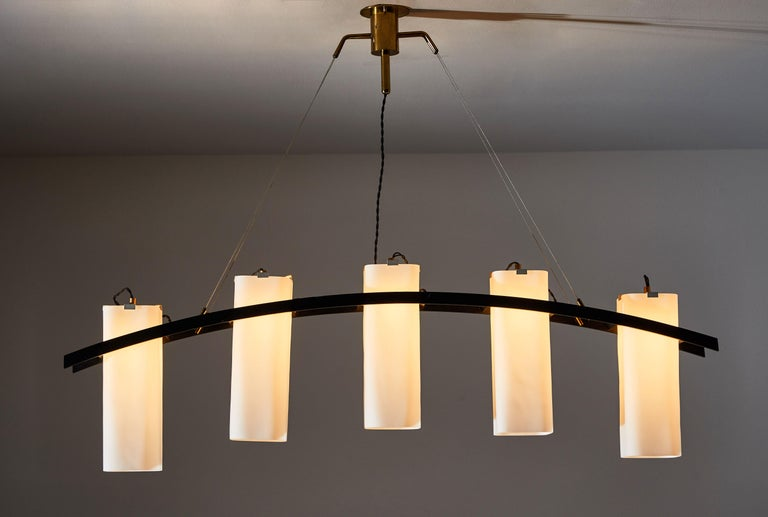 Mid-Century Modern Model No. 12701 Five Shade Chandelier by Angelo Lelli for Arredoluce For Sale