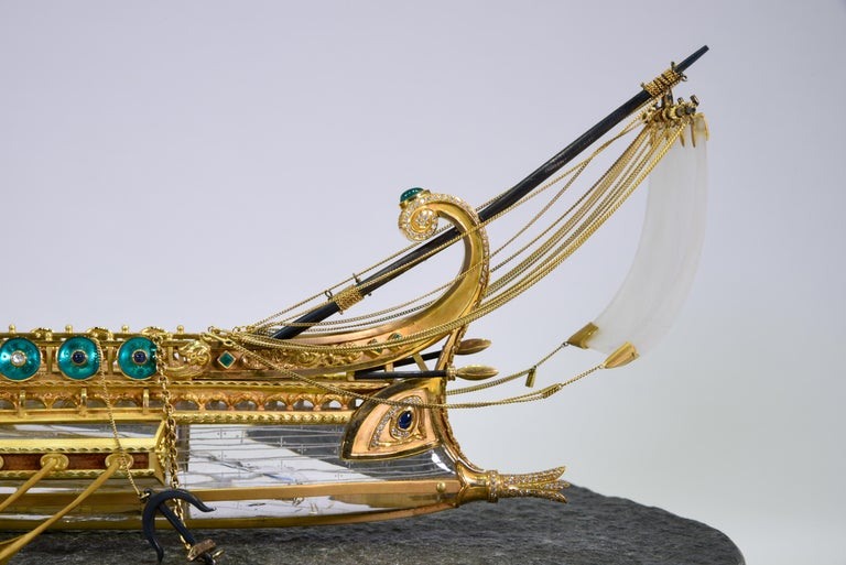 Model of Roman Galley with Gold, Diamond, Sapphire, Emerald, Enamel Rock Crystal For Sale 3