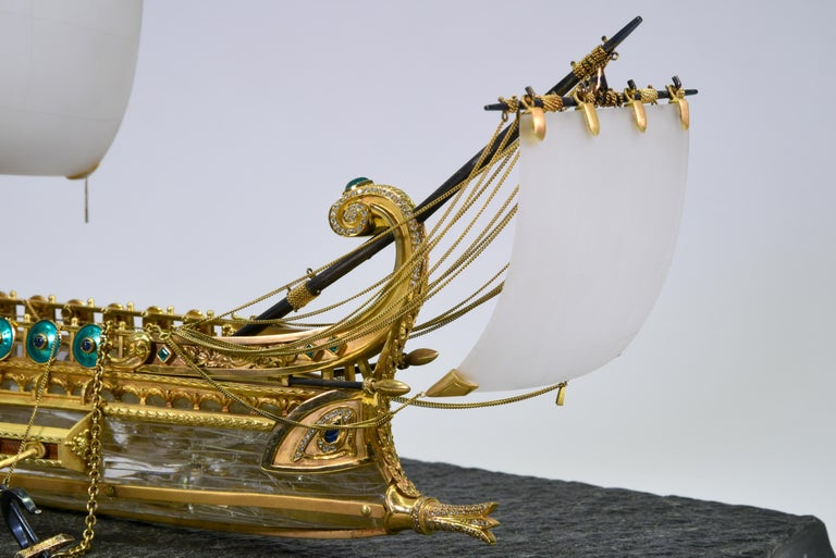 Model of Roman Galley with Gold, Diamond, Sapphire, Emerald, Enamel Rock Crystal For Sale 4