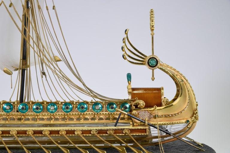 Model of Roman Galley with Gold, Diamond, Sapphire, Emerald, Enamel Rock Crystal For Sale 5