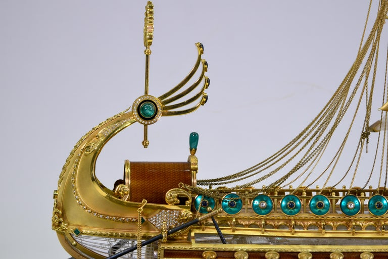 Model of Roman Galley with Gold, Diamond, Sapphire, Emerald, Enamel Rock Crystal For Sale 7