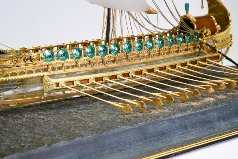 Model of Roman Galley with Gold, Diamond, Sapphire, Emerald, Enamel Rock Crystal For Sale 8
