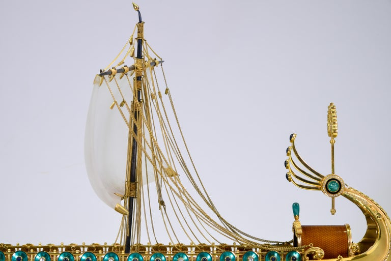 Model of Roman Galley with Gold, Diamond, Sapphire, Emerald, Enamel Rock Crystal For Sale 9