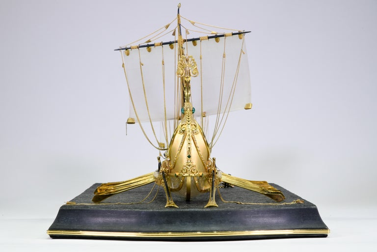 Model of Roman Galley with Gold, Diamond, Sapphire, Emerald, Enamel Rock Crystal For Sale 10