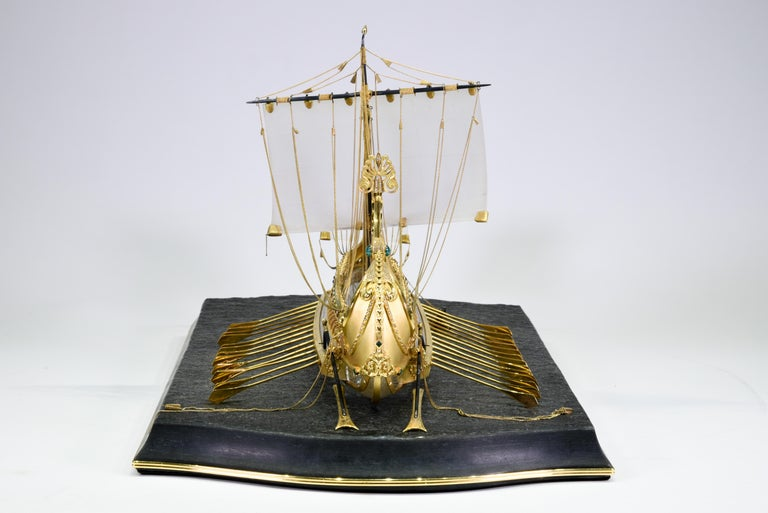 Model of Roman Galley with Gold, Diamond, Sapphire, Emerald, Enamel Rock Crystal For Sale 11