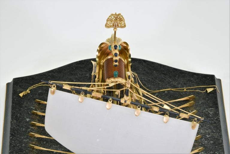 Model of Roman Galley with Gold, Diamond, Sapphire, Emerald, Enamel Rock Crystal For Sale 12