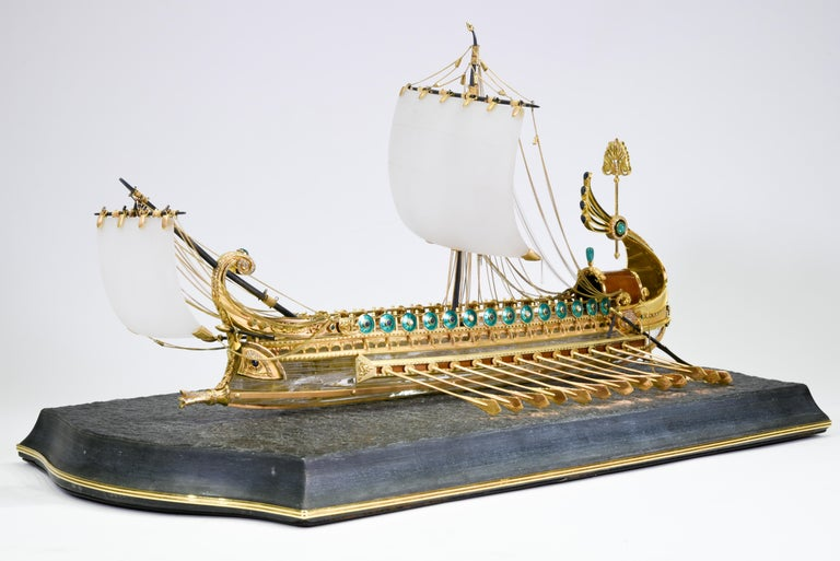 Greco Roman Model of Roman Galley with Gold, Diamond, Sapphire, Emerald, Enamel Rock Crystal For Sale