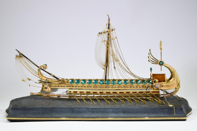 German Model of Roman Galley with Gold, Diamond, Sapphire, Emerald, Enamel Rock Crystal For Sale