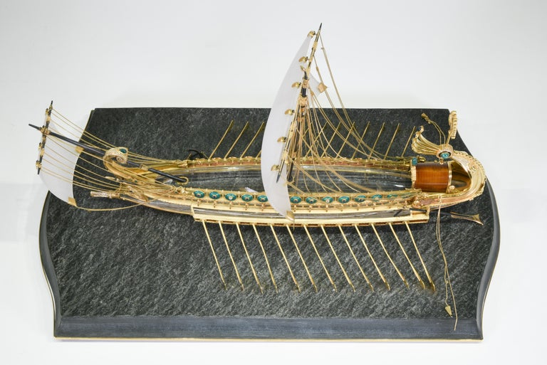 Hand-Carved Model of Roman Galley with Gold, Diamond, Sapphire, Emerald, Enamel Rock Crystal For Sale
