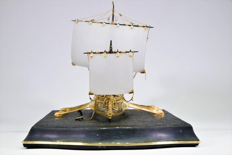 Model of Roman Galley with Gold, Diamond, Sapphire, Emerald, Enamel Rock Crystal In Good Condition For Sale In New York, NY
