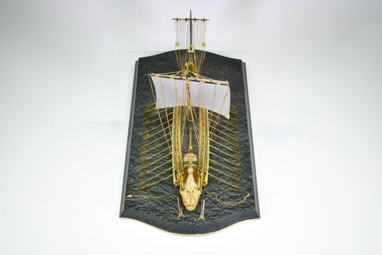 Late 20th Century Model of Roman Galley with Gold, Diamond, Sapphire, Emerald, Enamel Rock Crystal For Sale