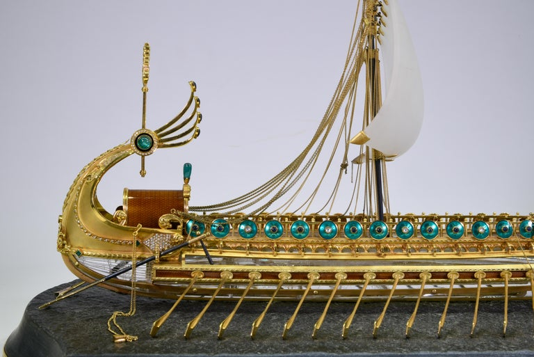 Model of Roman Galley with Gold, Diamond, Sapphire, Emerald, Enamel Rock Crystal For Sale 1