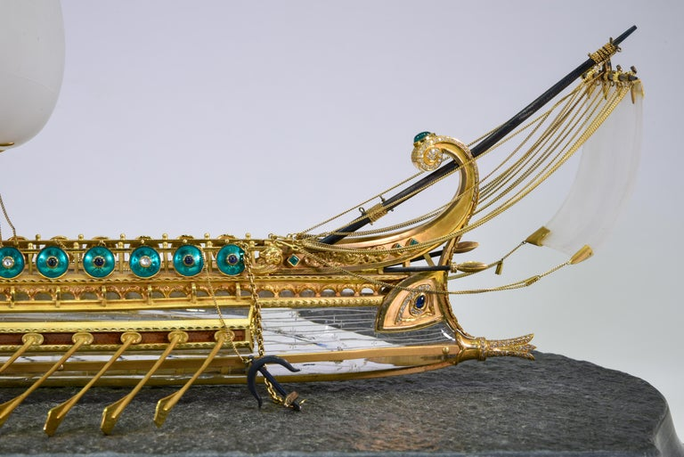 Model of Roman Galley with Gold, Diamond, Sapphire, Emerald, Enamel Rock Crystal For Sale 2