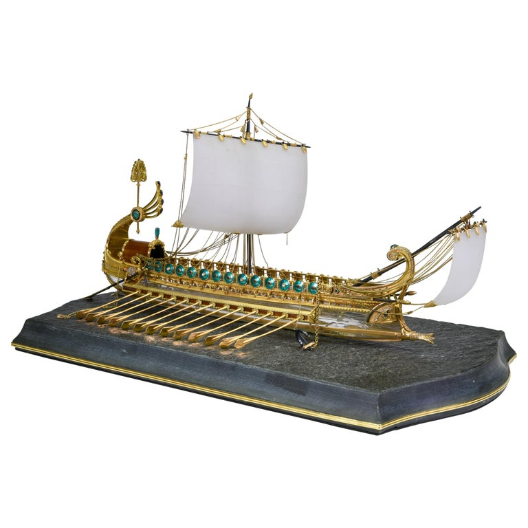 Model of Roman Galley with Gold, Diamond, Sapphire, Emerald, Enamel Rock Crystal For Sale