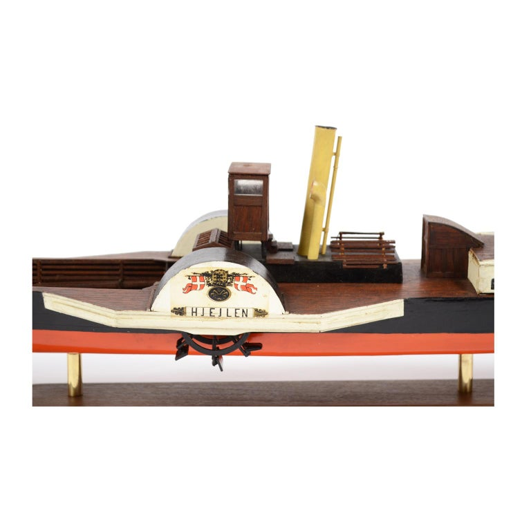 Model of the Danish Steamer Hjejlen, Black and Red Wood For Sale 7