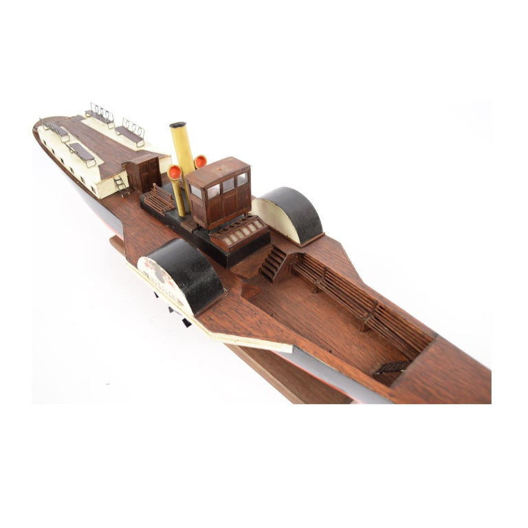 Model of the Danish Steamer Hjejlen, Black and Red Wood For Sale 11