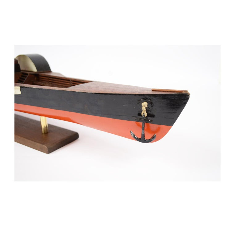 Model of the Danish Steamer Hjejlen, Black and Red Wood For Sale 12