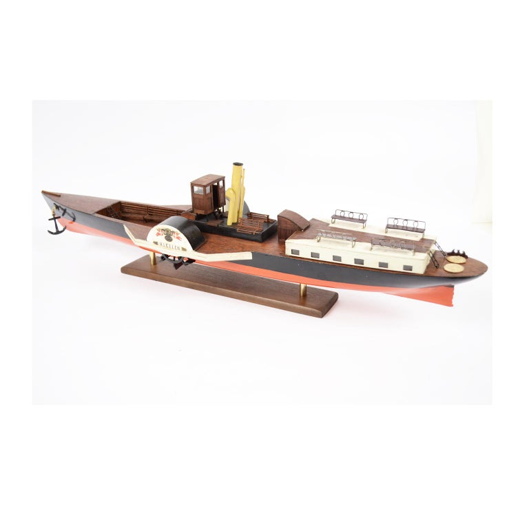 Mid-20th Century Model of the Danish Steamer Hjejlen, Black and Red Wood For Sale