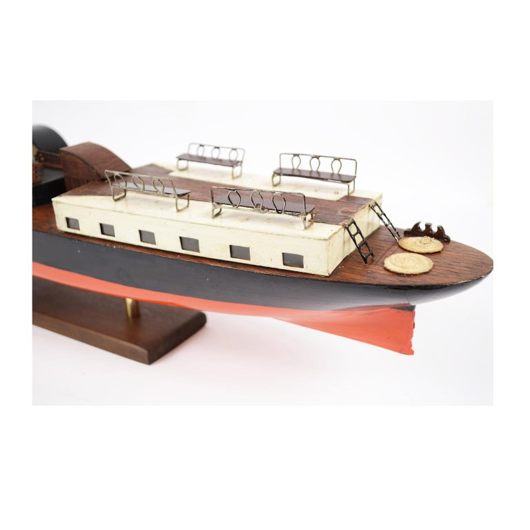 Model of the Danish Steamer Hjejlen, Black and Red Wood For Sale 2