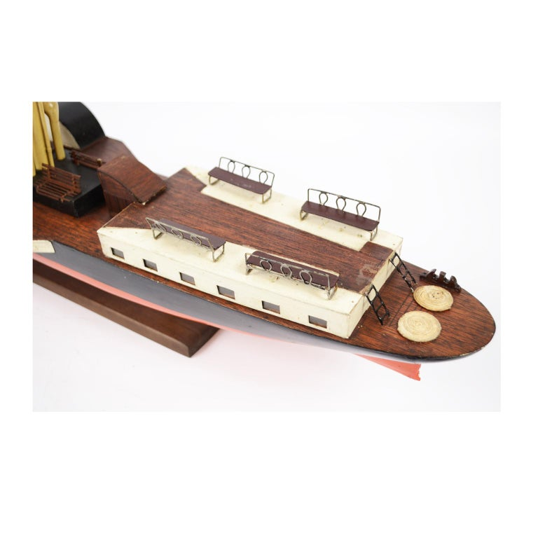 Model of the Danish Steamer Hjejlen, Black and Red Wood For Sale 3