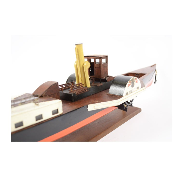 Model of the Danish Steamer Hjejlen, Black and Red Wood For Sale 4