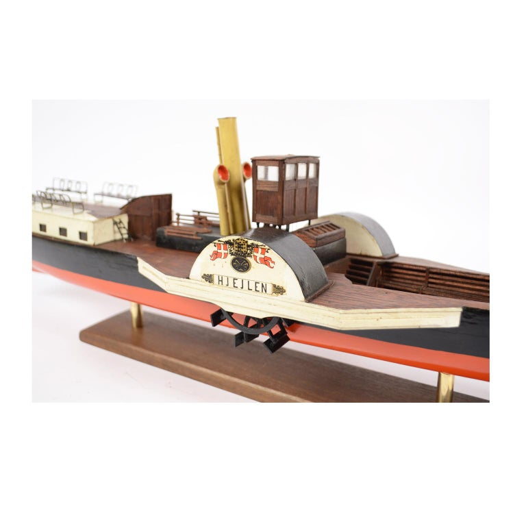 Model of the Danish Steamer Hjejlen, Black and Red Wood For Sale 5