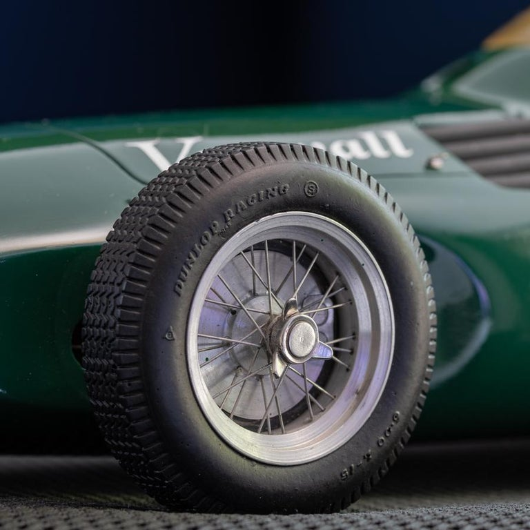 Model of the 1957 Formula One Vanwall, by internationally recognised British model maker Jeff Luff.   This is a 1:12 scale model, hand made in wood, resin and metal of the car that won the 1957 British Grand Prix with drivers Tony Brooks and
