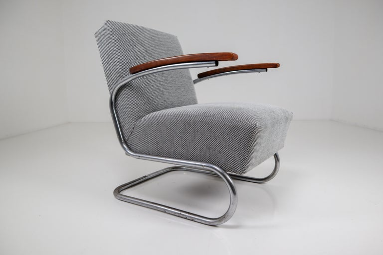 German Model S411 Armchairs by Thonet circa 1930s Midcentury Bauhaus Period For Sale