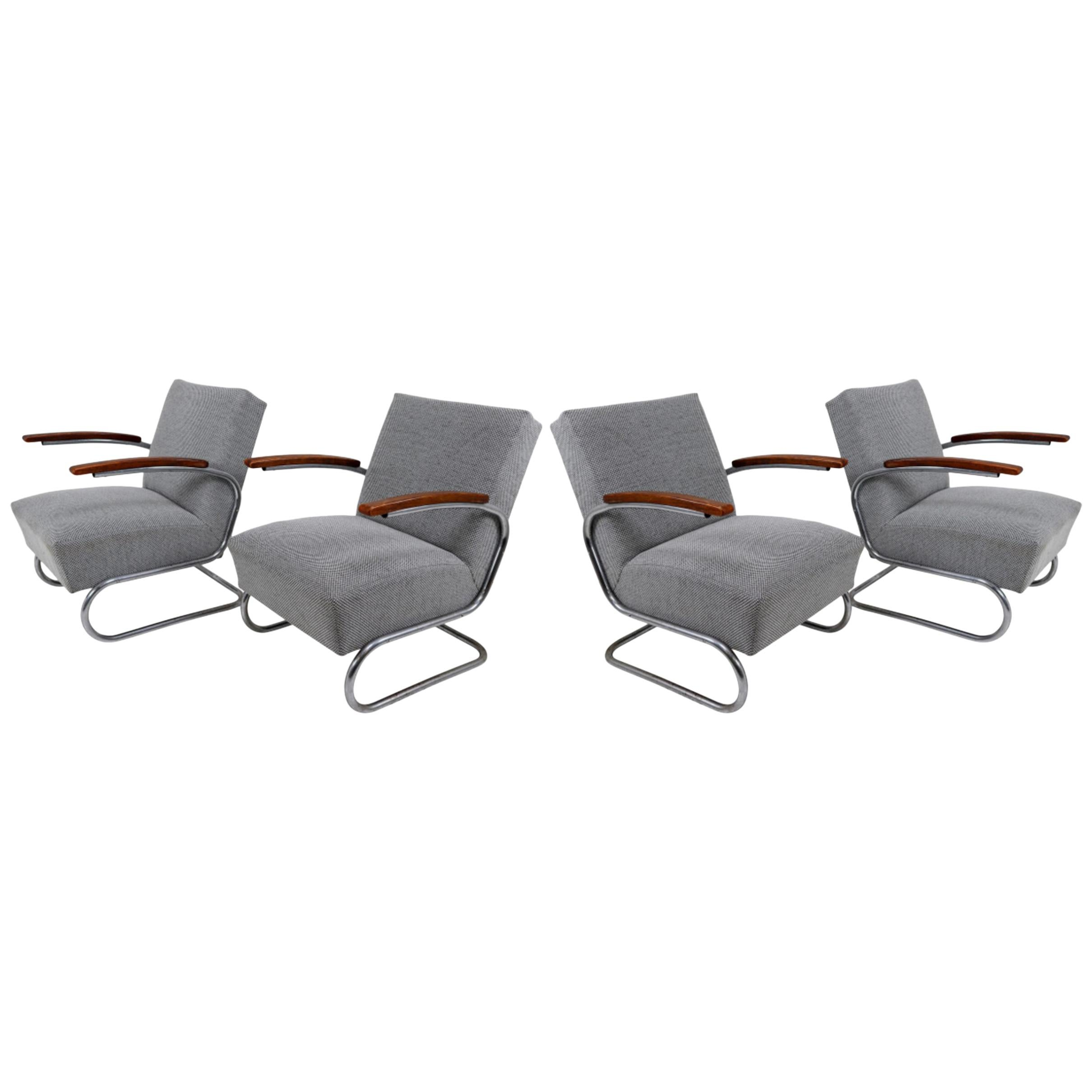 Model S411 Armchairs by Thonet circa 1930s Midcentury Bauhaus Period