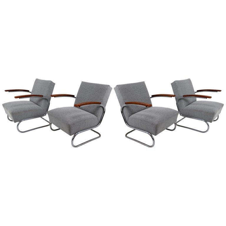 Model S411 Armchairs by Thonet circa 1930s Midcentury Bauhaus Period For Sale