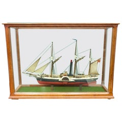 Model Ship in a Glass Case with Teak Frame, France, 1960s 'B'