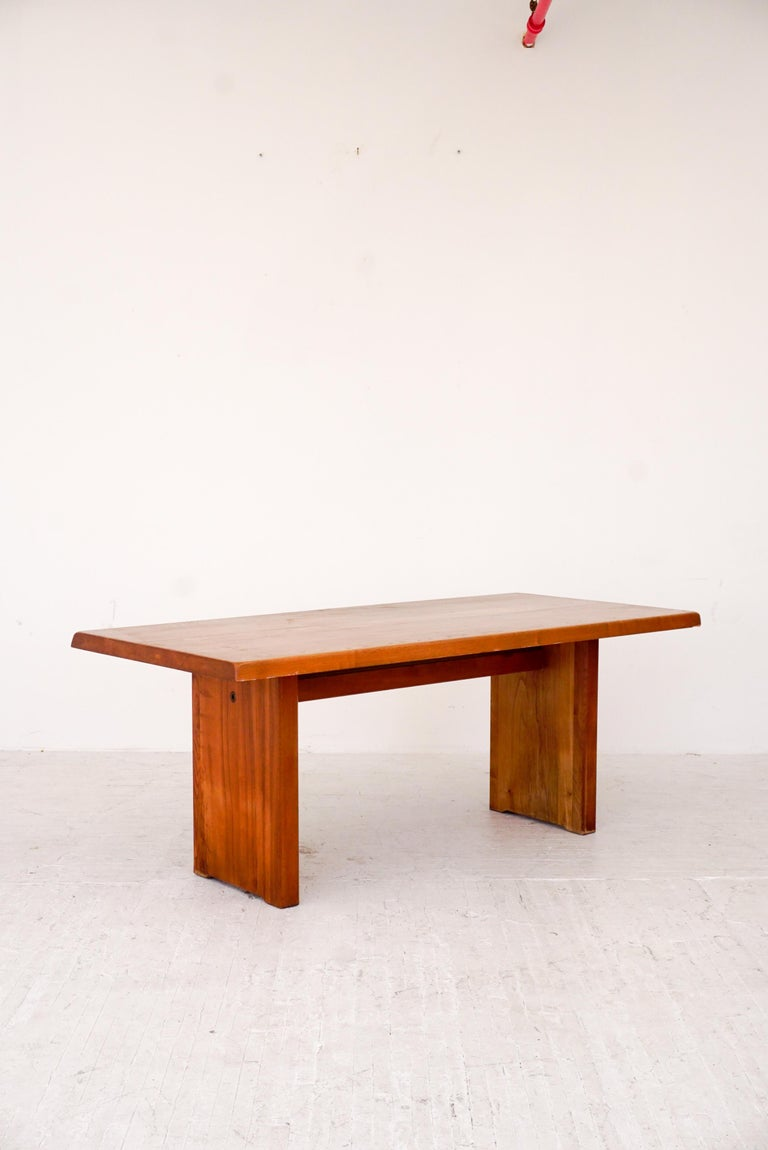 French Model T14C Dining Table and Benches by Pierre Chapo For Sale