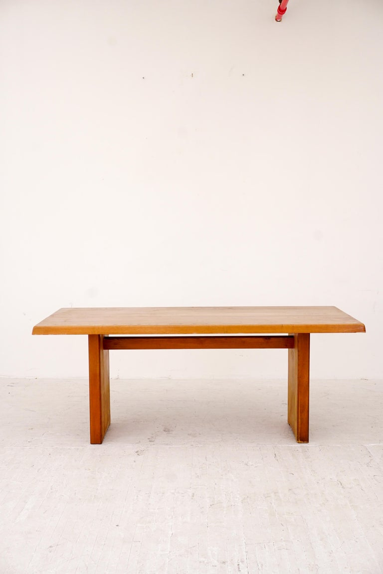 Model T14C Dining Table and Benches by Pierre Chapo In Good Condition For Sale In Brooklyn, NY