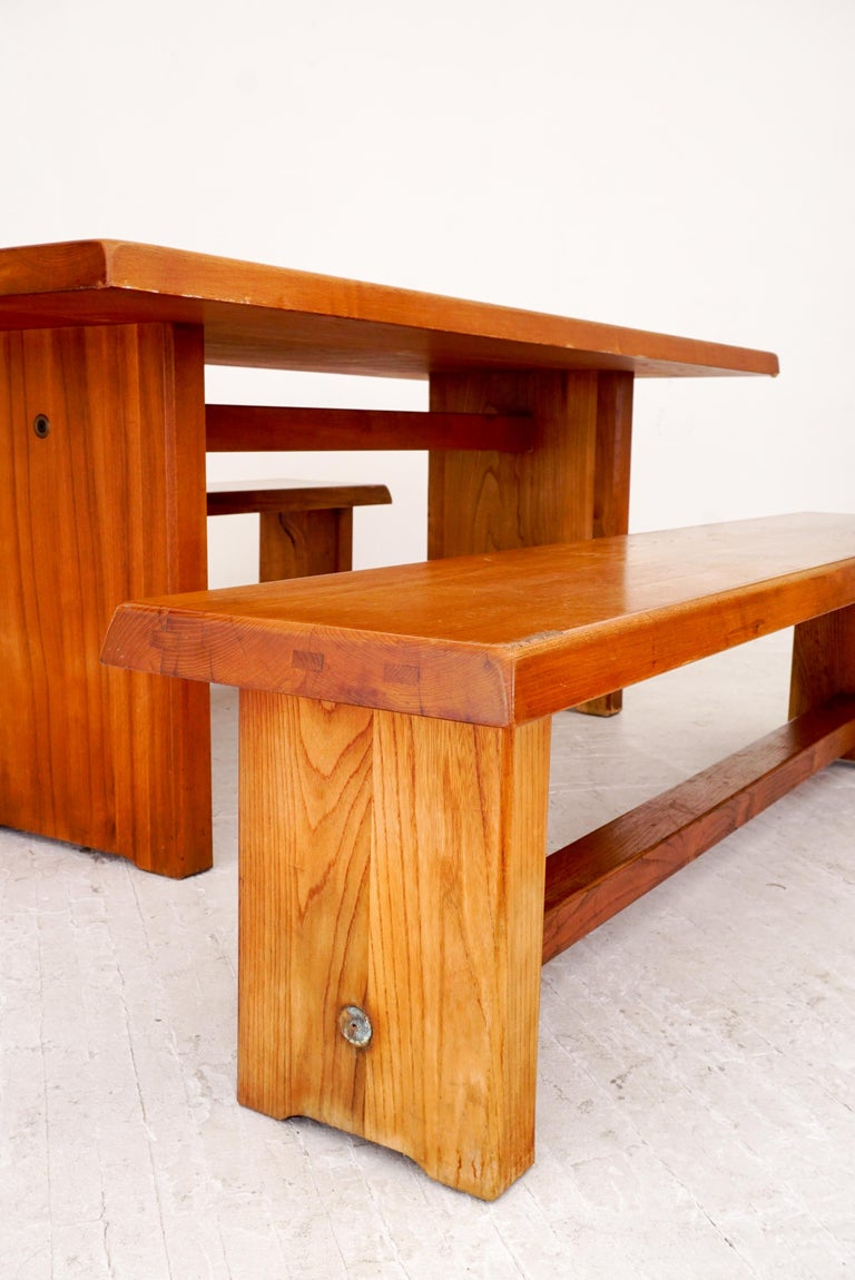 Mid-17th Century Model T14C Dining Table and Benches by Pierre Chapo For Sale