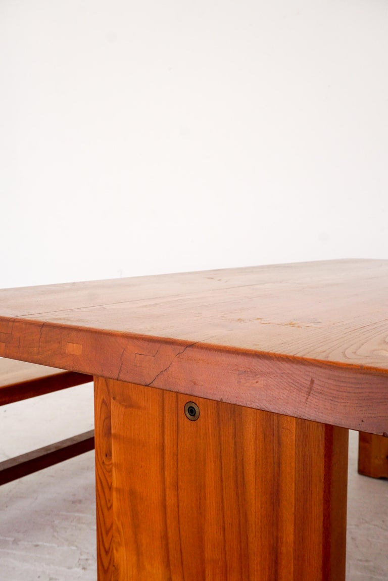 Hardwood Model T14C Dining Table and Benches by Pierre Chapo For Sale