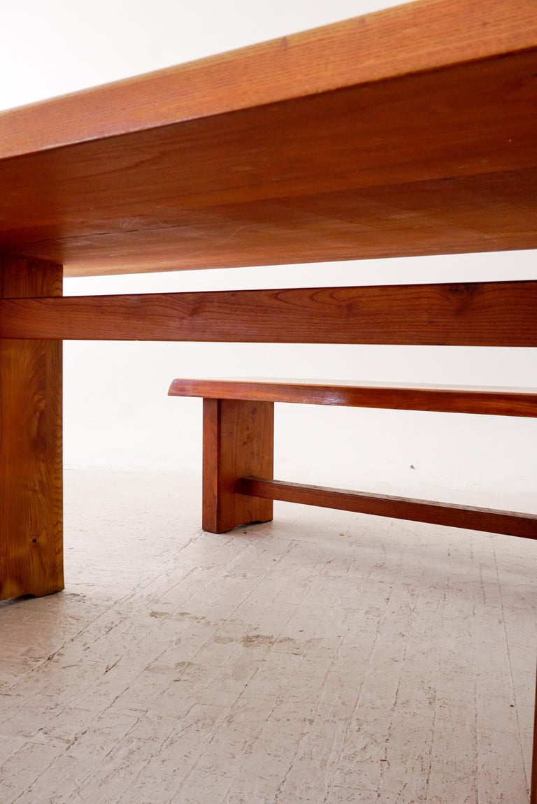 Model T14C Dining Table and Benches by Pierre Chapo For Sale 2