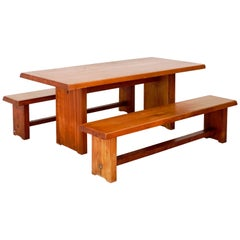 Model T14C Dining Table and Benches by Pierre Chapo
